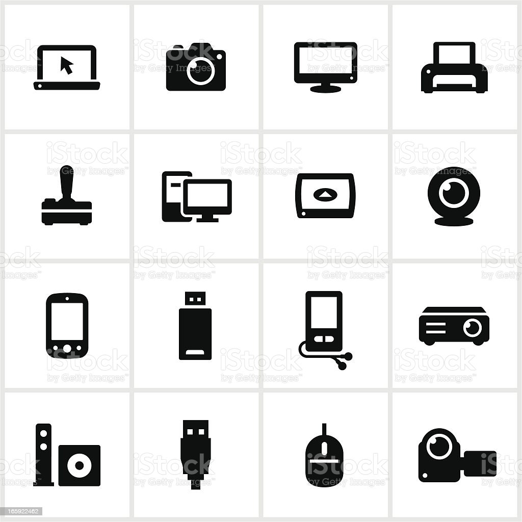 Black Electronics Icons royalty-free stock vector art