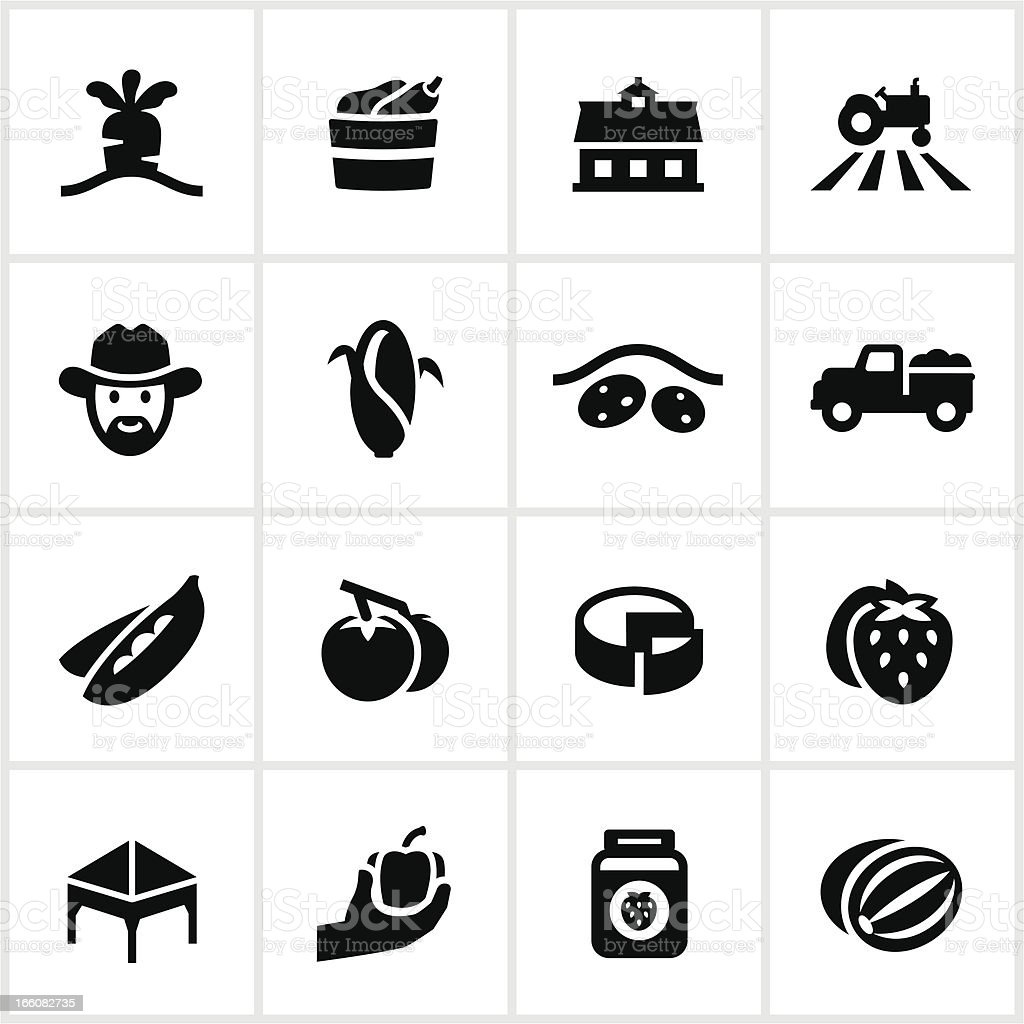 Black Farmer's Market Icons royalty-free black farmers market icons stock vector art & more images of agricultural fair