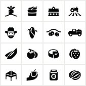Farmer's market related icons. All white strokes/shapes are cut from the icons and merged allowing the background to show through.