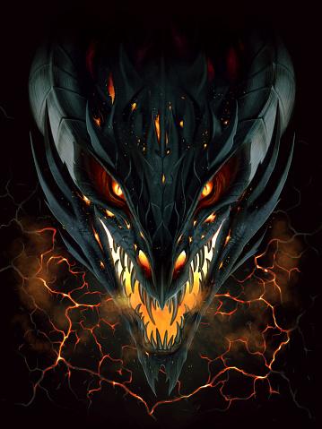 Black fire dragon in lava background