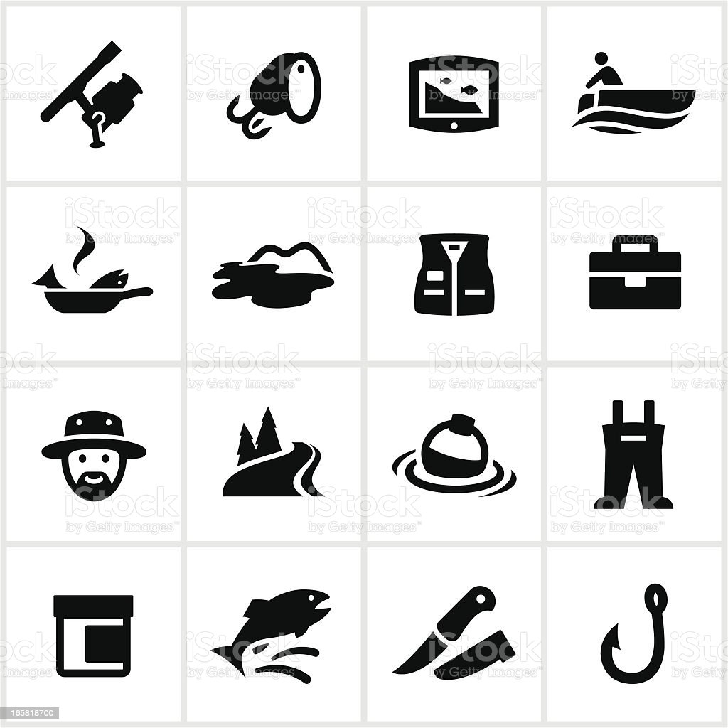 Black Fishing Icons royalty-free black fishing icons stock vector art & more images of cooking