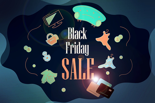 Black Friday 2020, online shoppig Facebook cover, web banner.