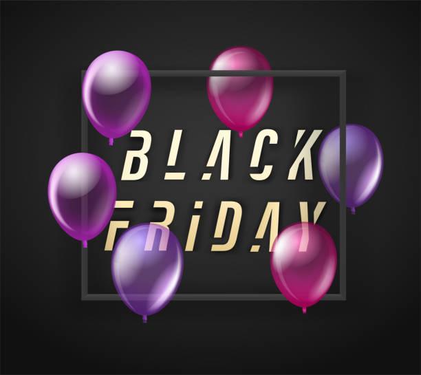 Black friday sale banner with black balloons. Vector illustration Vector illustration bil stock illustrations