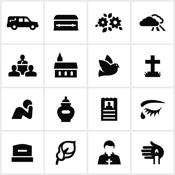 Black Funeral Icons Funeral related icons. All white strokes/shape are cut from the icons and merged allowing the background to show through. death stock illustrations