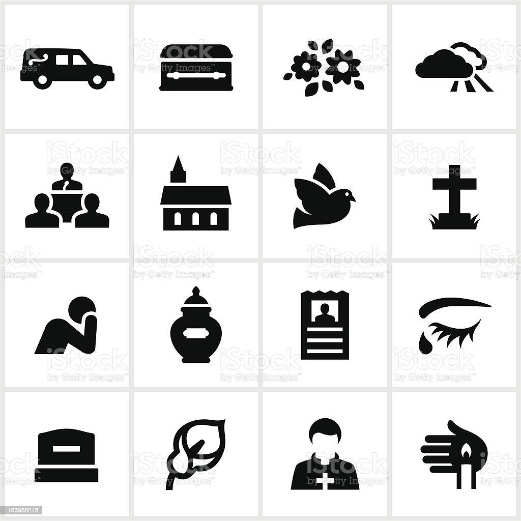 Black Funeral Icons vector art illustration