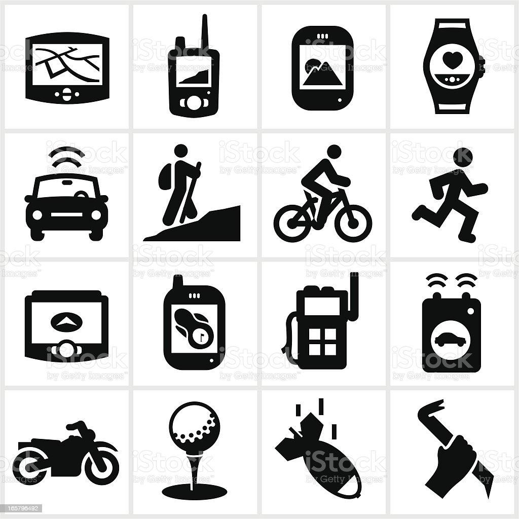 Black GPS Types Icons royalty-free stock vector art