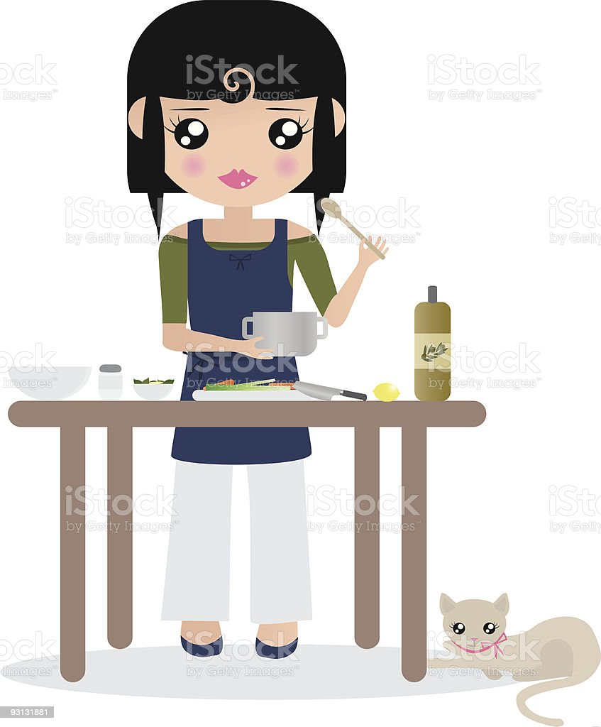 Black Haired Caucasian Woman Prepares Food vector art illustration