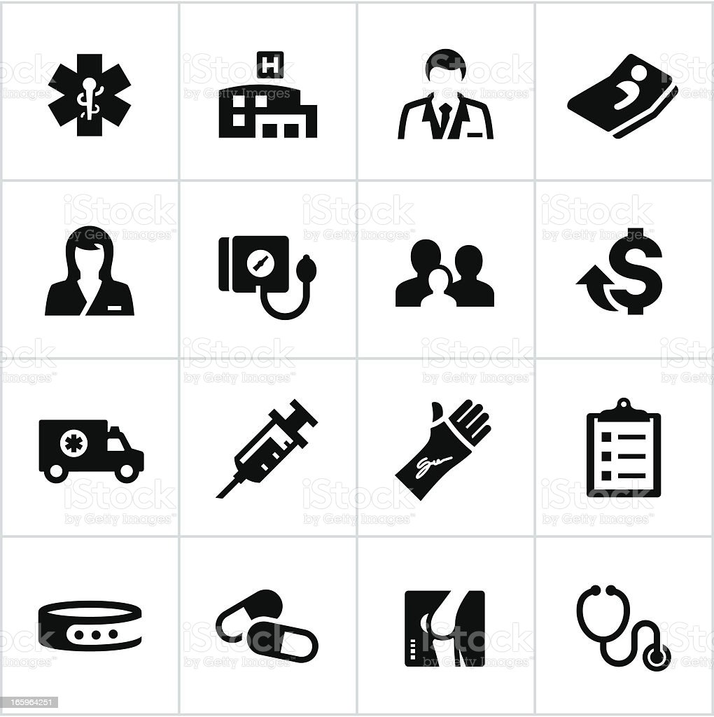 Black Health Care Icons vector art illustration