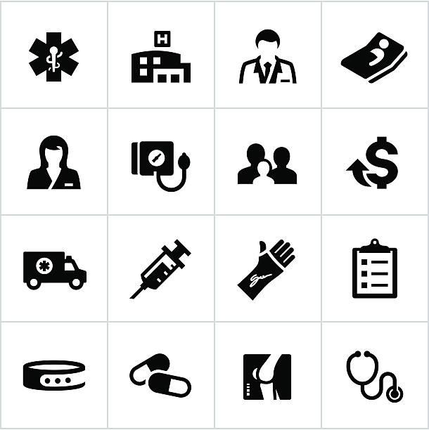 illustrazioni stock, clip art, cartoni animati e icone di tendenza di assistenza sanitaria icone nero - scheda clinica
