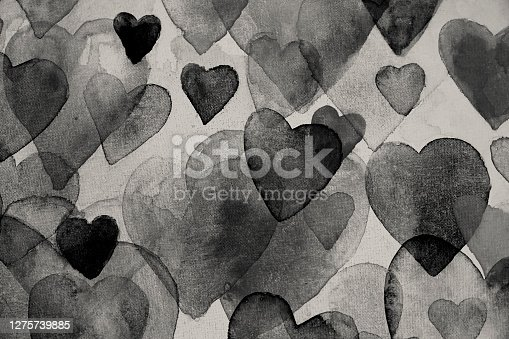 istock Black hearts watercolor painting 1275739885