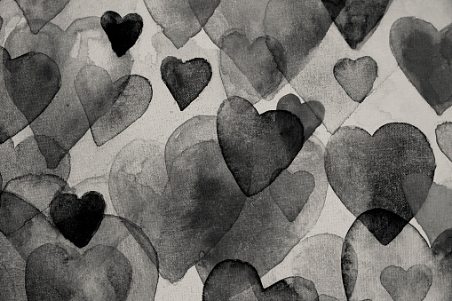 Black hearts watercolor painting