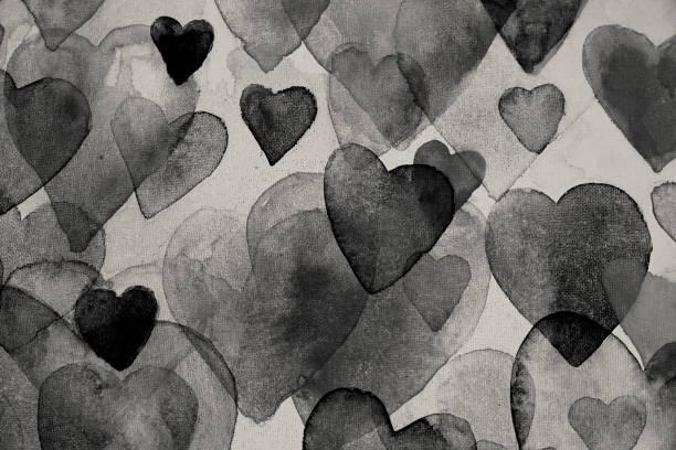 Black hearts watercolor painting vector art illustration