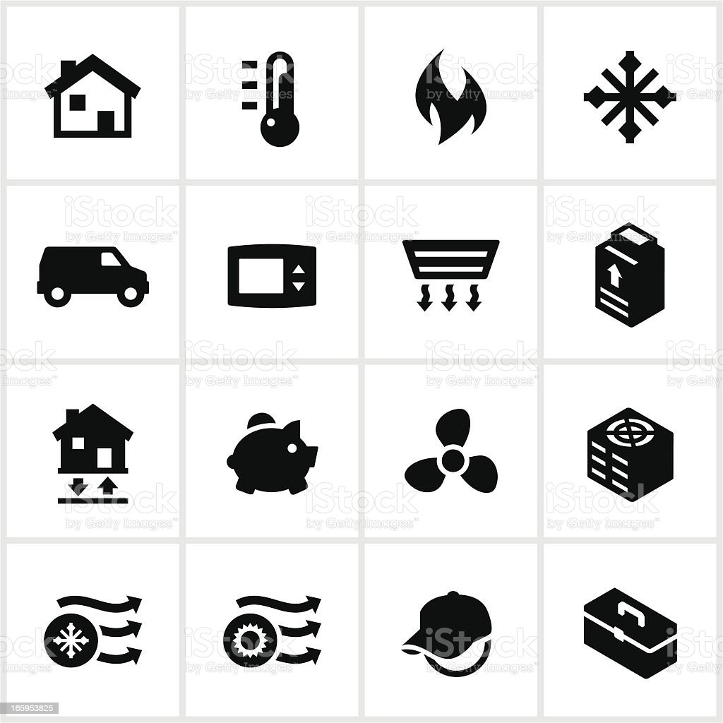 Black Heating and Cooling Icons vector art illustration