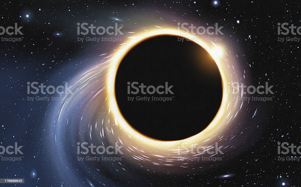 Black Hole - Digital Painting digital painting of space being distorted by a giant black hole Astronomy stock illustration