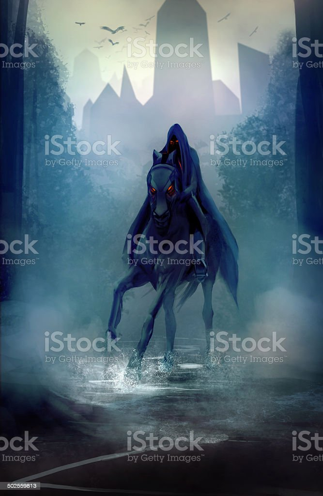 Black horseman vector art illustration