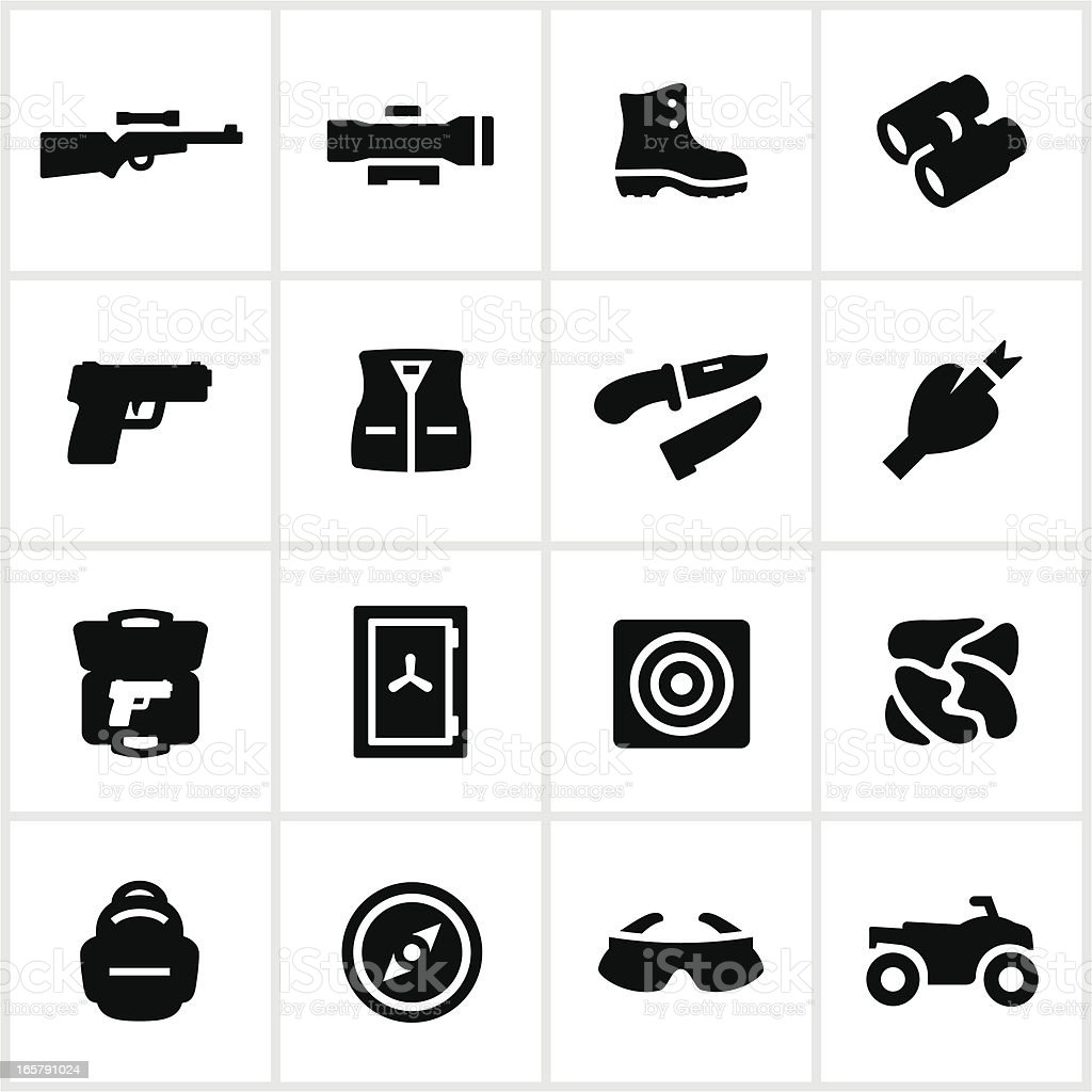 Black Hunting Equipment Icons royalty-free stock vector art