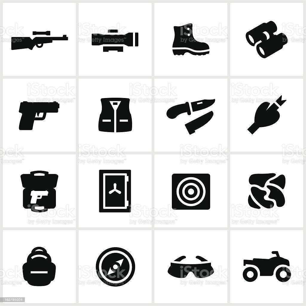 Black Hunting Equipment Icons vector art illustration