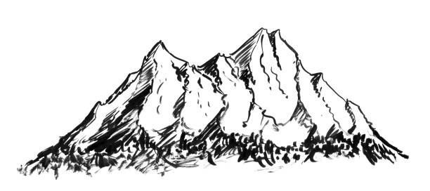 Black Ink Grunge Hand Drawing of Generic Mountain Landscape Black brush and ink artistic rough hand drawing of generic mountain landscape. black white snow scene silhouette stock illustrations