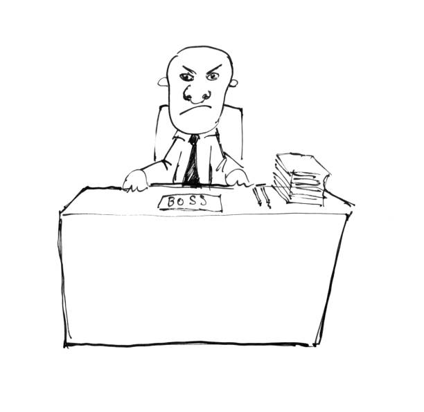black ink hand rough drawing of manager or boss sitting behind desk in office - old man sitting chair drawing stock illustrations, clip art, cartoons, & icons