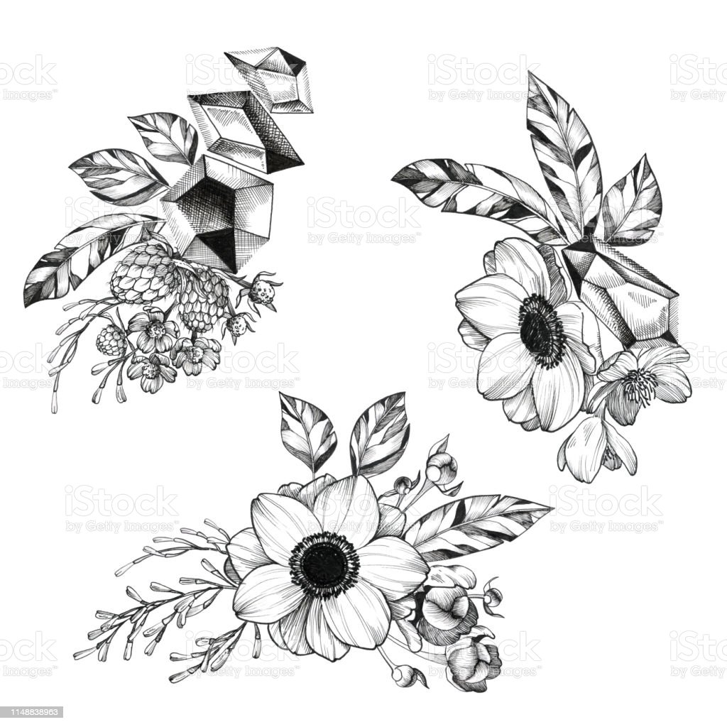 Black Ink Tattoo Hand Drawn Bouquet Stock Vector Art More Images