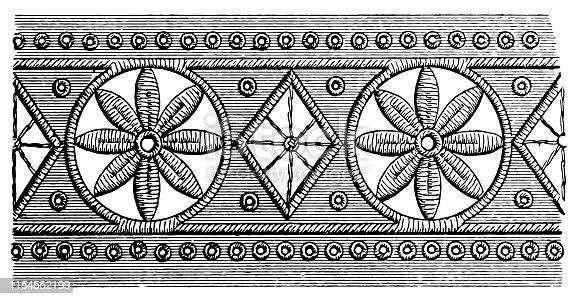 Illustration of a Black lace, Floral Pattern