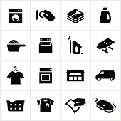 Laundromat/dry cleaner related icons. All white strokes/shapes are cut from the icons and merged allowing the background to show through.