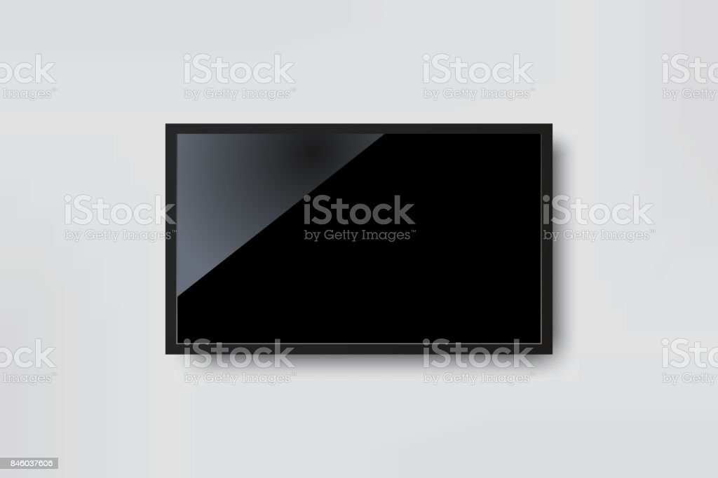 Black LED tv television screen blank on white wall background vector art illustration