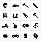 Lumberjack and lumber industry icons. All white strokes/shapes are cut from the icons and merged allowing the background to show through.
