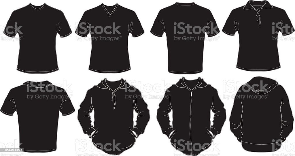 black male shirts template vector art illustration