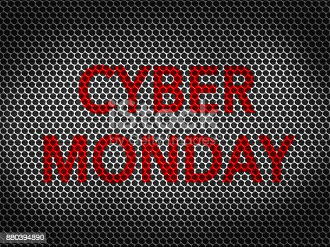 670341570istockphoto Black metallic grid background with CYBER MONDAY Word 880394890