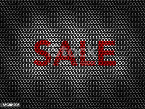 670341570istockphoto Black metallic grid background with SALE word 880394908