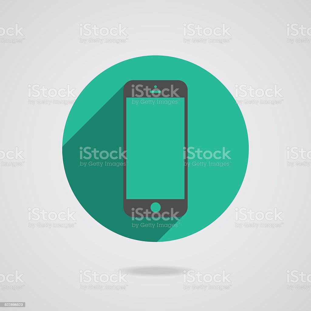 Black mobile phone icon with blank screen isolated on white vector art illustration