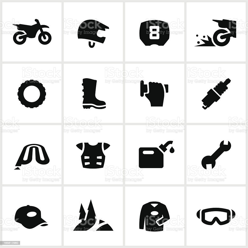 Black Motocross and Dirtbike Icons vector art illustration