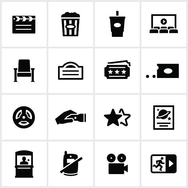 bildbanksillustrationer, clip art samt tecknat material och ikoner med black movie theater icons - sittplats