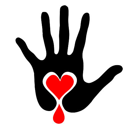 Black palm with a heart and a drop of blood. Stop the violence.