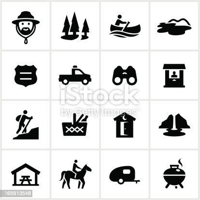 Park and recreation related icons. All white strokes/shapes are cut from the icons and merged allowing the background to show through.