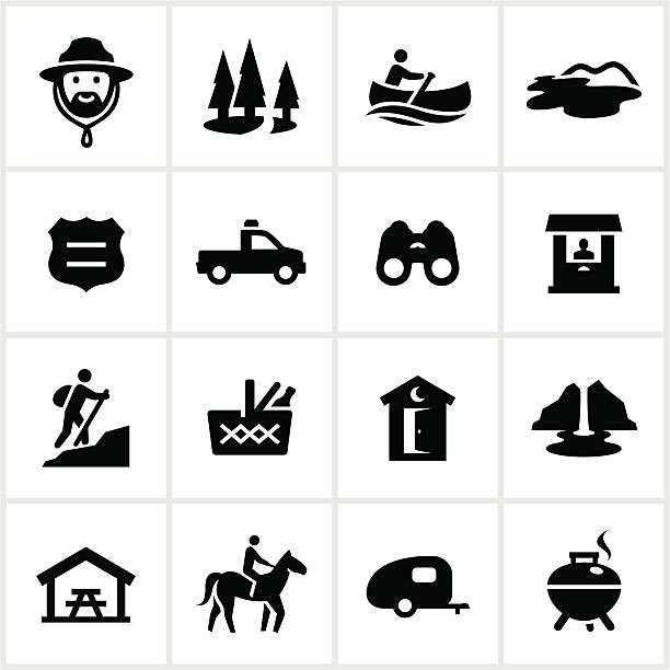 Black Park and Recreation Icons Park and recreation related icons. All white strokes/shapes are cut from the icons and merged allowing the background to show through. pavilion stock illustrations