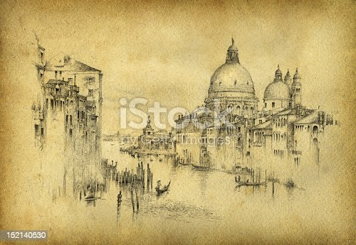 The Grand Canal in Venice. Pencil on paper & vintage style processing.