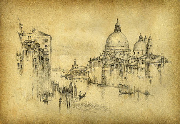 a black pencil sketch of venice on old paper - renaissance style stock illustrations, clip art, cartoons, & icons