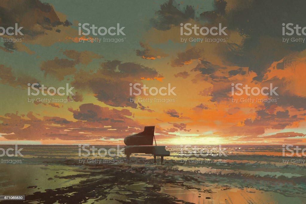 black piano on the beach at sunset vector art illustration