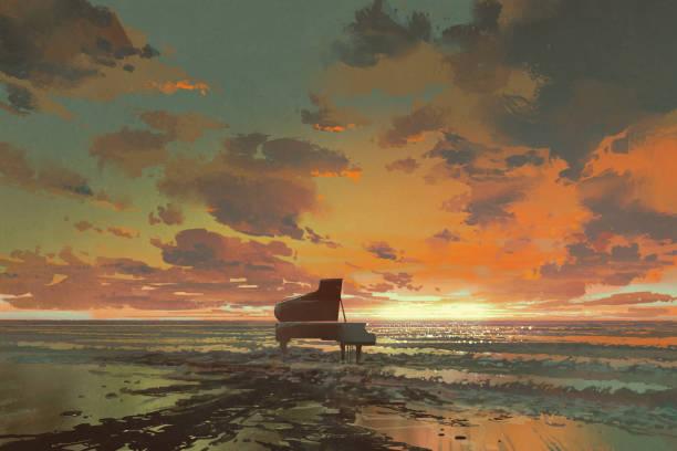 gün batımı sahilde siyah piyano - piano stock illustrations