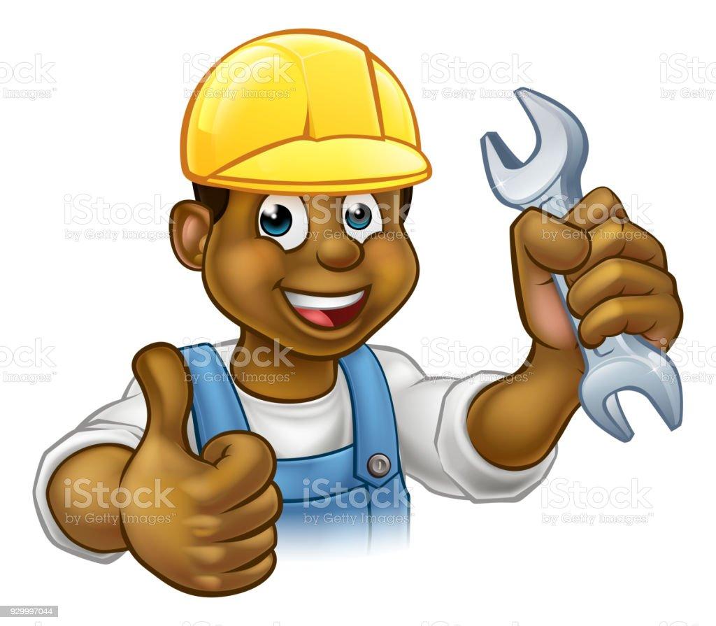 Black Plumber Mechanic or Handyman vector art illustration