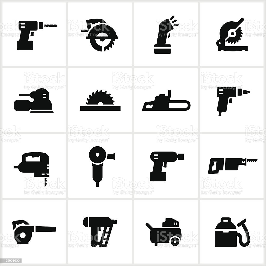 Black Power Tools Icons vector art illustration