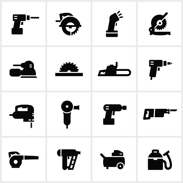 Black Power Tools Icons Power tools. All white strokes/shapes are cut from the icons and merged allowing the background to show through. electric saw stock illustrations
