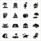 Resort/hotel icons. All white strokes/shapes are cut from the icons and merged allowing the background to show through.