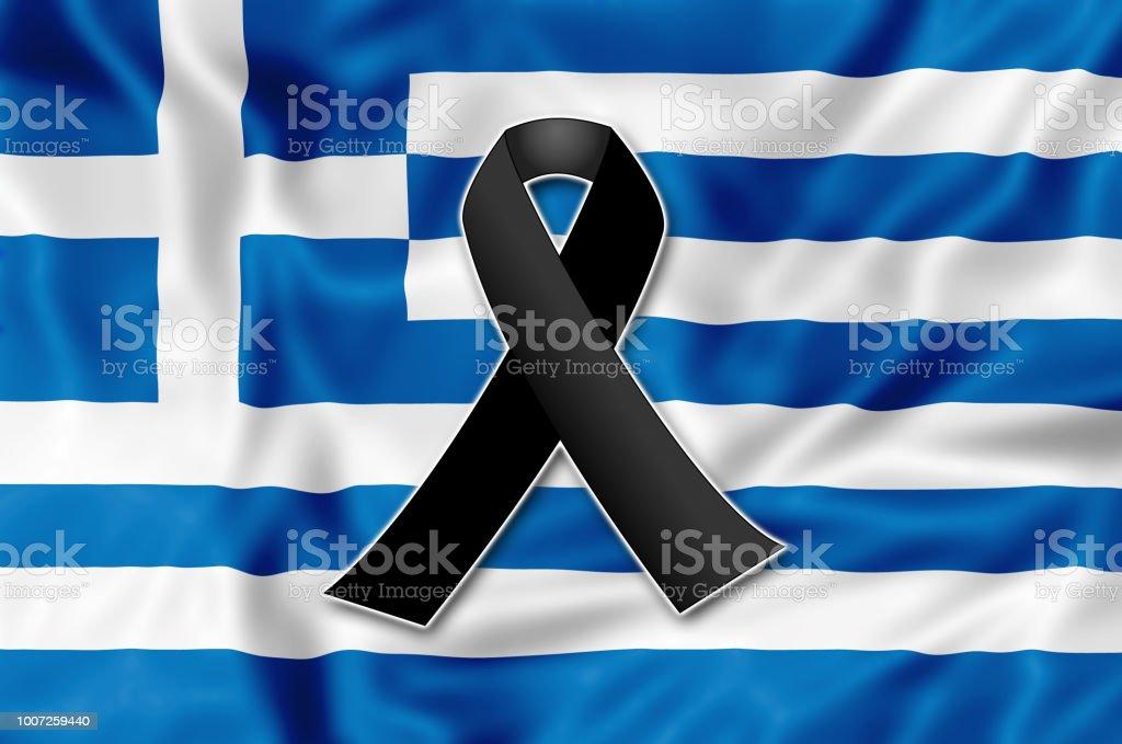 Black ribbon for Greece vector art illustration