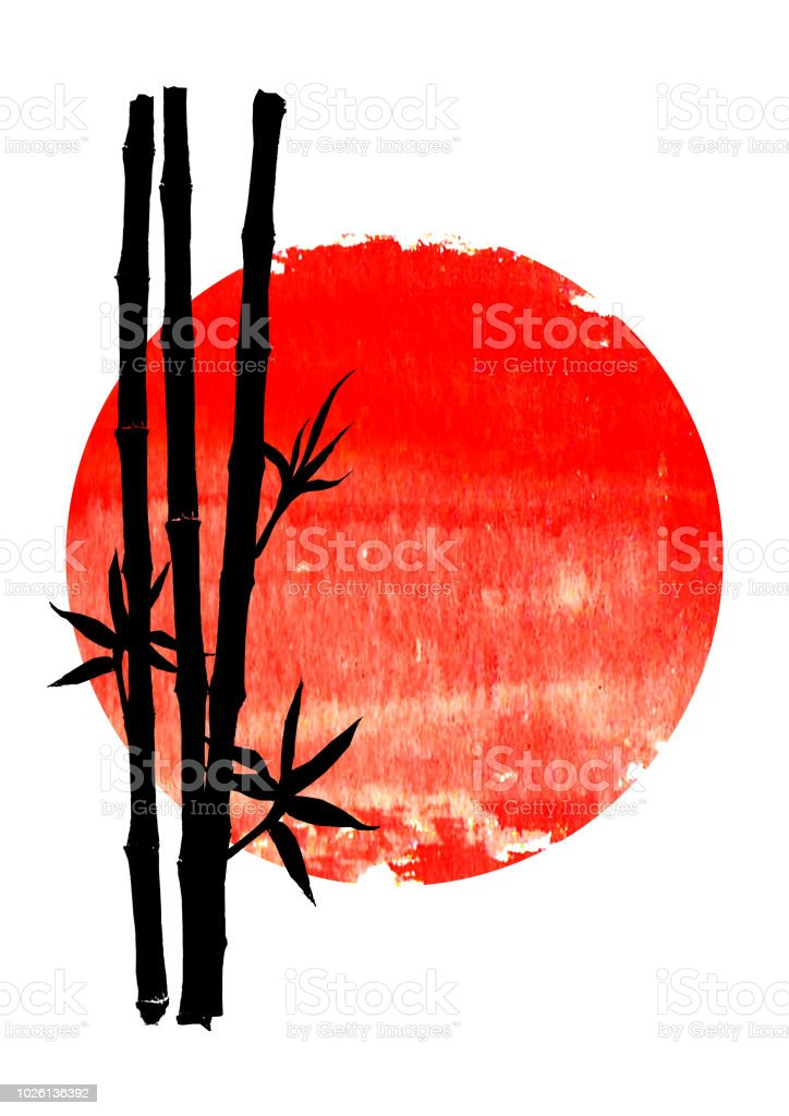 Black silhouette of bamboo plants on big red sun vector art illustration