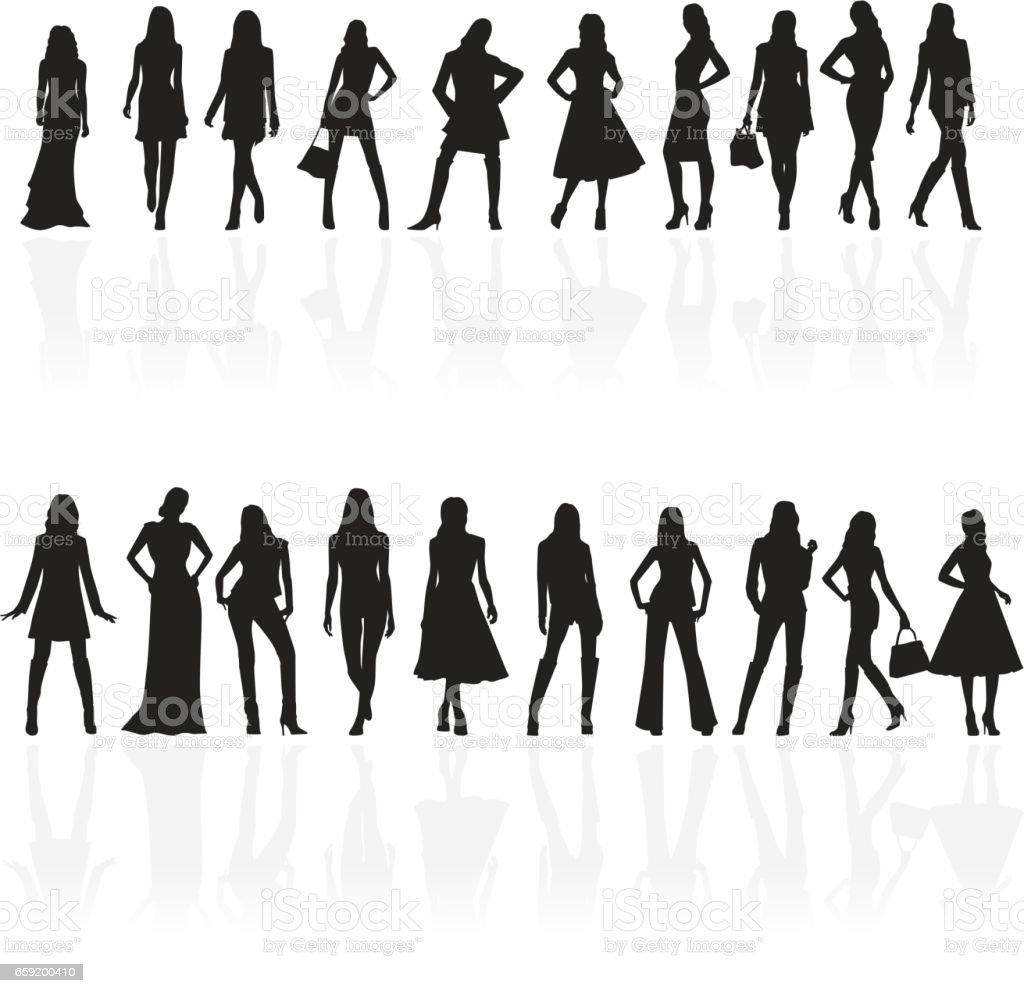 black silhouette of fashionable women vector art illustration