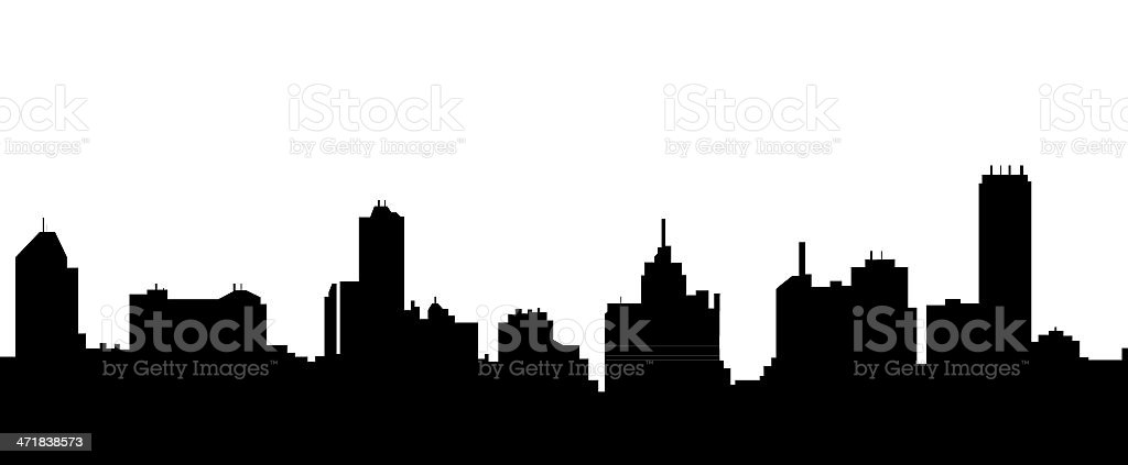 A black silhouette of the Melbourne skyline vector art illustration