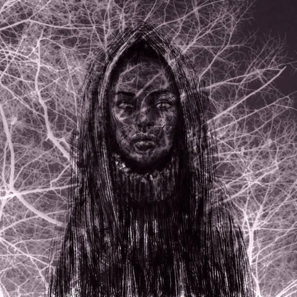 illustrazioni stock, clip art, cartoni animati e icone di tendenza di black skinned shaman girl in the hood - woman portrait forest
